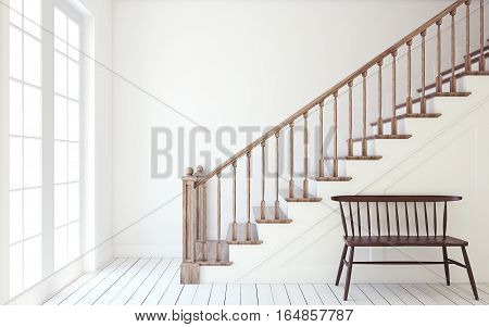 Interior of hallway with wood stairway. Wall mockup. 3d render.