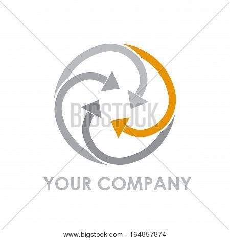 Vector sign arrows in rotation, isolated illustration on white
