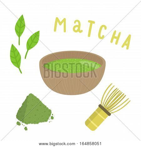 Set for making matcha tea. Vector hand drawn cartoon illustration.