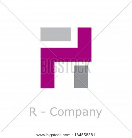 Vector sign abstract broken letter R, isolated illustration on white