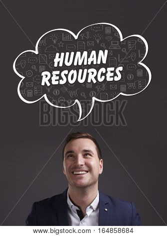 Business, Technology, Internet And Marketing. Young Businessman Thinking About: Human Resources