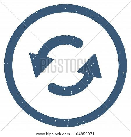 Refresh CCW rubber seal stamp watermark. Icon vector symbol with grunge design and unclean texture. Scratched blue ink sign on a white background.