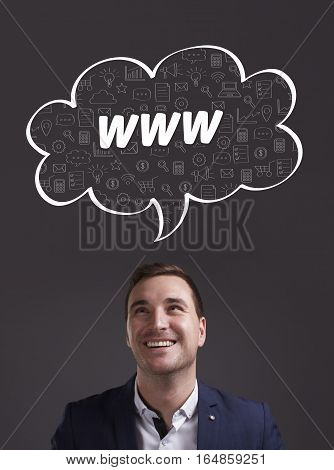 Business, Technology, Internet And Marketing. Young Businessman Thinking About: Www