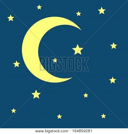 Vector crescent moon and stars night icon. Nature moonlight illustration