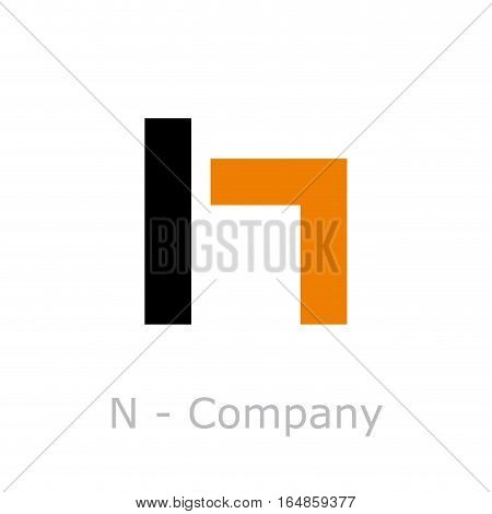 Vector sign abstract broken letter N, isolated illustration on white