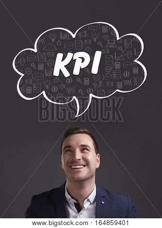 Business, Technology, Internet And Marketing. Young Businessman Thinking About: Kpi