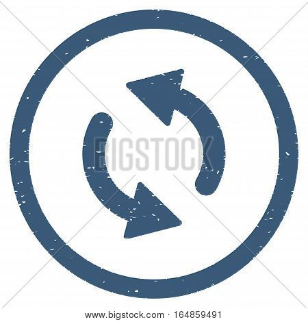Update Arrows rubber seal stamp watermark. Icon vector symbol with grunge design and corrosion texture. Scratched blue ink sticker on a white background.