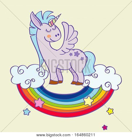 Vector winged unicorn standing on a rainbow with clouds. Mythology magical animal with horn illustration