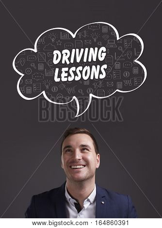 Business, Technology, Internet And Marketing. Young Businessman Thinking About: Driving Lessons
