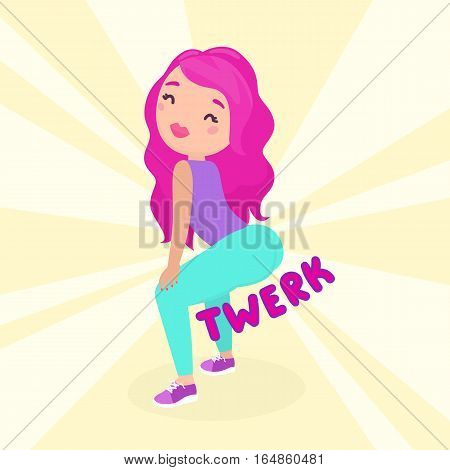 Smiling girl dancing twerk. Booty dance. Cartoon illustration.