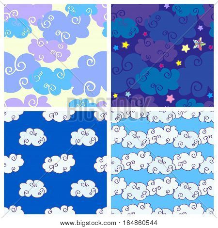 Set of vector cartoon hand drawn clouds seamless patterns. Coolection of backgrounds with cloud