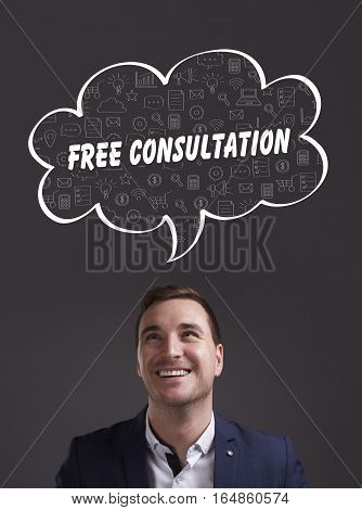 Business, Technology, Internet And Marketing. Young Businessman Thinking About: Free Consultation