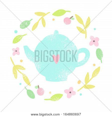 Cute teapot in a floral laurel. Vector hand drawn old textured illustration.
