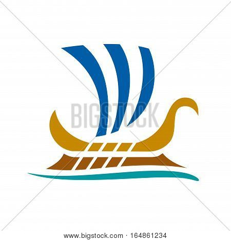 Vector sign greek boat, isolated illustration on white