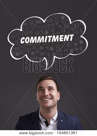 Business, Technology, Internet And Marketing. Young Businessman Thinking About: Commitment