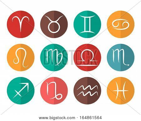 Set of vector Zodiac signs flat icons white background. Symbol of zodiac illustration