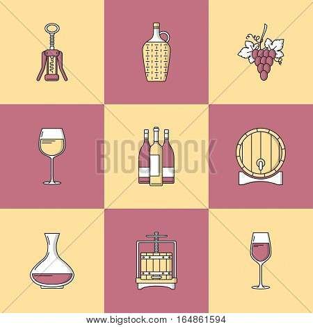 Winemaking icons on colorful square. Collection of flat style design element. Can be used for web page banner info-graphics