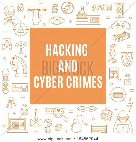 Hacking and cyber crime - square vector template with icons of gadgets and hacker's activities. Linear style. For web and paper ads. Hacker attack and computer protection illustration.