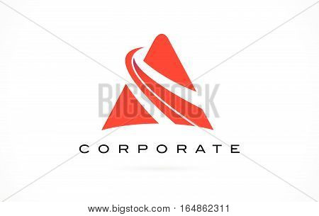 A Logo Red. Letter A Design with Red Swash.