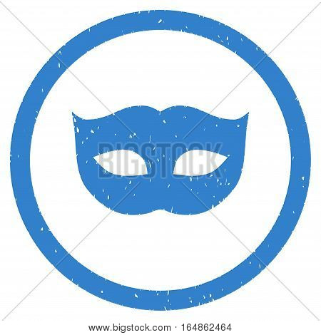 Privacy Mask rubber seal stamp watermark. Icon vector symbol with grunge design and dust texture. Scratched cobalt ink sticker on a white background.