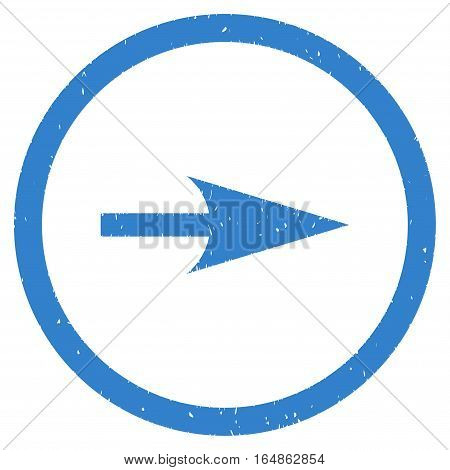 Sharp Right Arrow rubber seal stamp watermark. Icon vector symbol with grunge design and unclean texture. Scratched cobalt ink sticker on a white background.