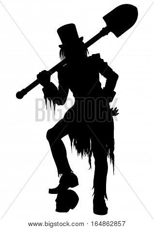 Illustration gravedigger in victorian ragged clothes and top-hat. He leans on a skull