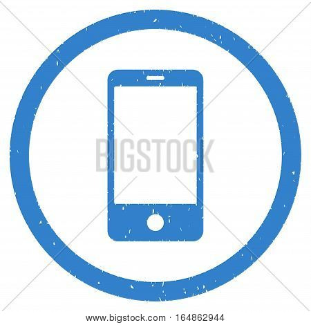 Smartphone rubber seal stamp watermark. Icon vector symbol with grunge design and corrosion texture. Scratched cobalt ink sticker on a white background.