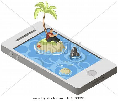 Isometric tropical desert island on smartphone with lonely man with phone. Concept of loneliness in the network. Vector illustration