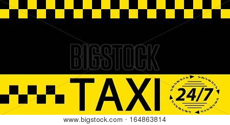 Business card taxi banner, business card template for round the clock service taxi, vector template