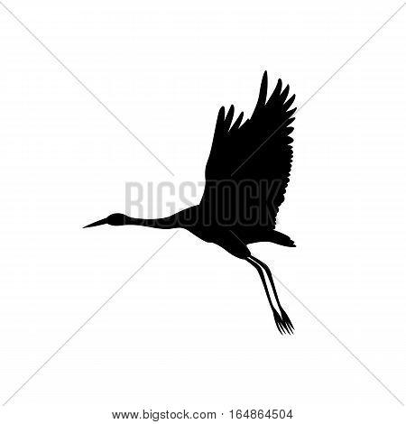 Crane bird black silhouette  vector illustration side