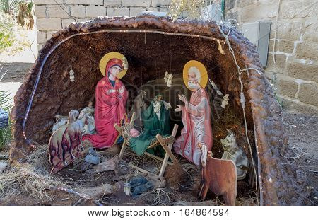 Nativity Scene At The Monastery Of St Gerasimus. Israel