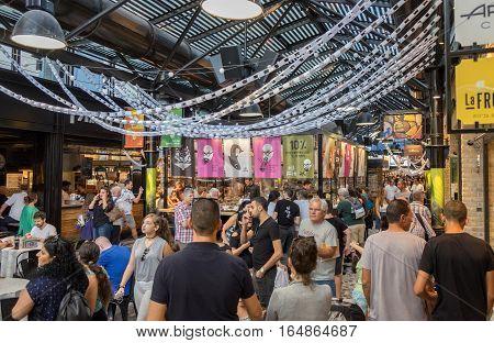 Lot Of People At Sarona Food Market. Tel-aviv, Israel