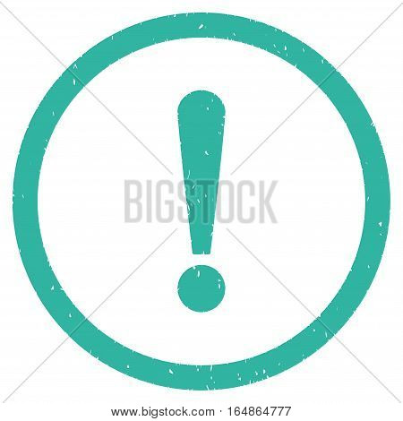 Exclamation Sign rubber seal stamp watermark. Icon vector symbol with grunge design and dust texture. Scratched cyan ink sign on a white background.