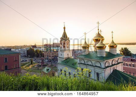 NIZHNY NOVGOROD, RUSSIA - June 1, 2016:View of the Church Of The Nativity Of John The Baptist and Volga river. Russia, Nizhny Novgorod