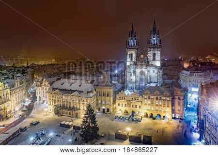 Aerial winter night view on Church of Our Lady before Tyn on Old Town Square of Prague Kostel Panny Marie Pred Tynem