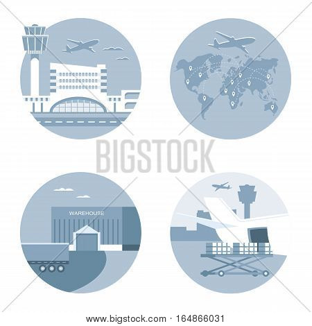 Set of aircraft cargo. Air logistics and freight transportation concept. Flat style illustration.