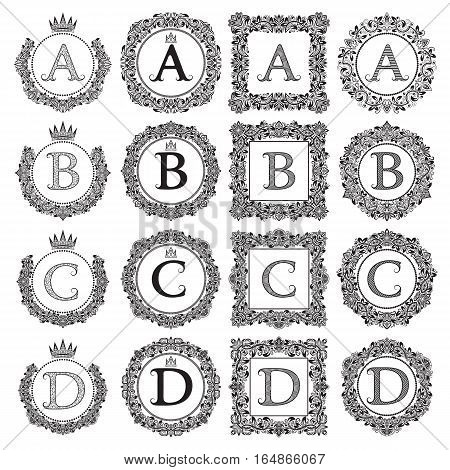 Vintage monograms set of A B C D letter. Heraldic coats of arms in wreaths round and square frames. Black symbols on white.