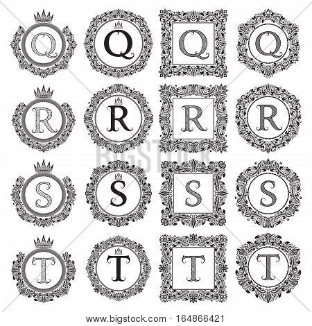 Vintage monograms set of Q R S T letter. Heraldic coats of arms in wreaths round and square frames. Black symbols on white.