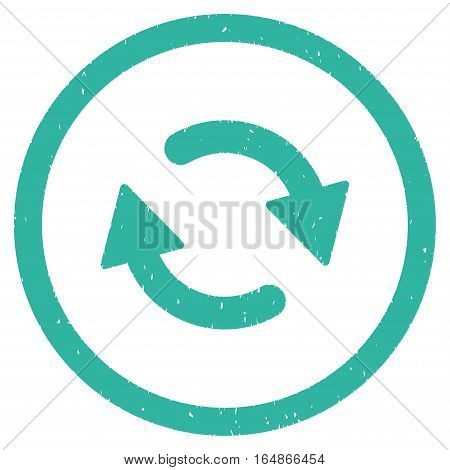 Refresh Arrows rubber seal stamp watermark. Icon vector symbol with grunge design and corrosion texture. Scratched cyan ink emblem on a white background.