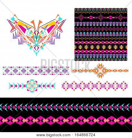 Vector set of decorative elements for design and fashion in ethnic tribal style. Neckline seamless borders and patterns. Collection of pattern brushes inside. Aztec ornaments poster