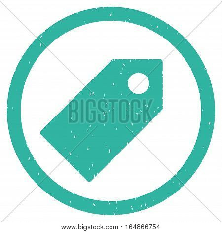 Tag rubber seal stamp watermark. Icon vector symbol with grunge design and unclean texture. Scratched cyan ink emblem on a white background.