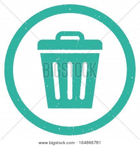 Trash Can rubber seal stamp watermark. Icon vector symbol with grunge design and corrosion texture. Scratched cyan ink emblem on a white background.