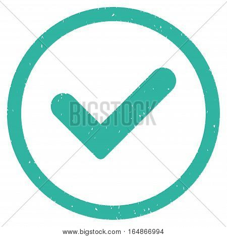 Yes rubber seal stamp watermark. Icon vector symbol with grunge design and dirty texture. Scratched cyan ink sign on a white background.