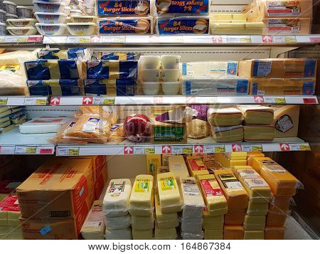 CHIANG RAI THAILAND - NOVEMBER 29 : various brand of butter and dairy products in packaging for sale on supermarket stand or shelf on November 29 2016 in Chiang rai Thailand.