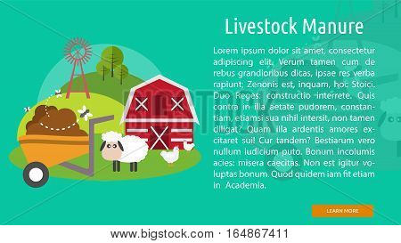 Livestock Manure Conceptual Banner Great flat illustration concept icon and use for industrial, agriculture, business, farm and much more.