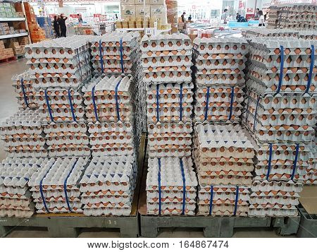 CHIANG RAI THAILAND - NOVEMBER 29 : eggs for sale on supermarket on November 29 2016 in Chiang rai Thailand.