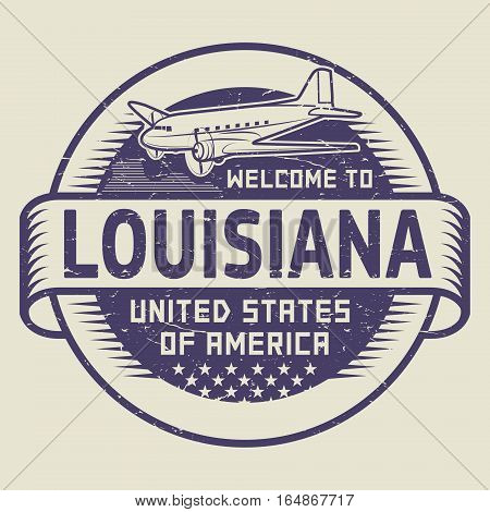 Grunge rubber stamp or tag with airplane and text Welcome to Louisiana United States of America vector illustration