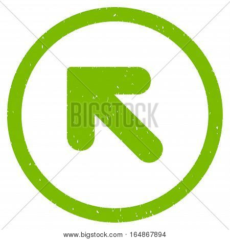 Arrow Up Left rubber seal stamp watermark. Icon vector symbol with grunge design and corrosion texture. Scratched eco green ink emblem on a white background.