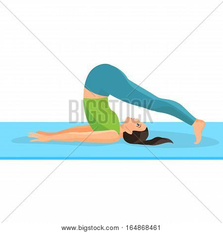 Yoga asana pose of girl lying on rug and taking her legs above head, hands pulling out backward. Female person doing oriental kind of sports. Process of meditation and relaxation on white background