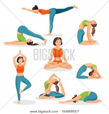 Asana yoga collection of girls doing sport in oriental poses and with female person in lotos posture in centre. Vector poster of useful for human health meditating and exercising pictures on white